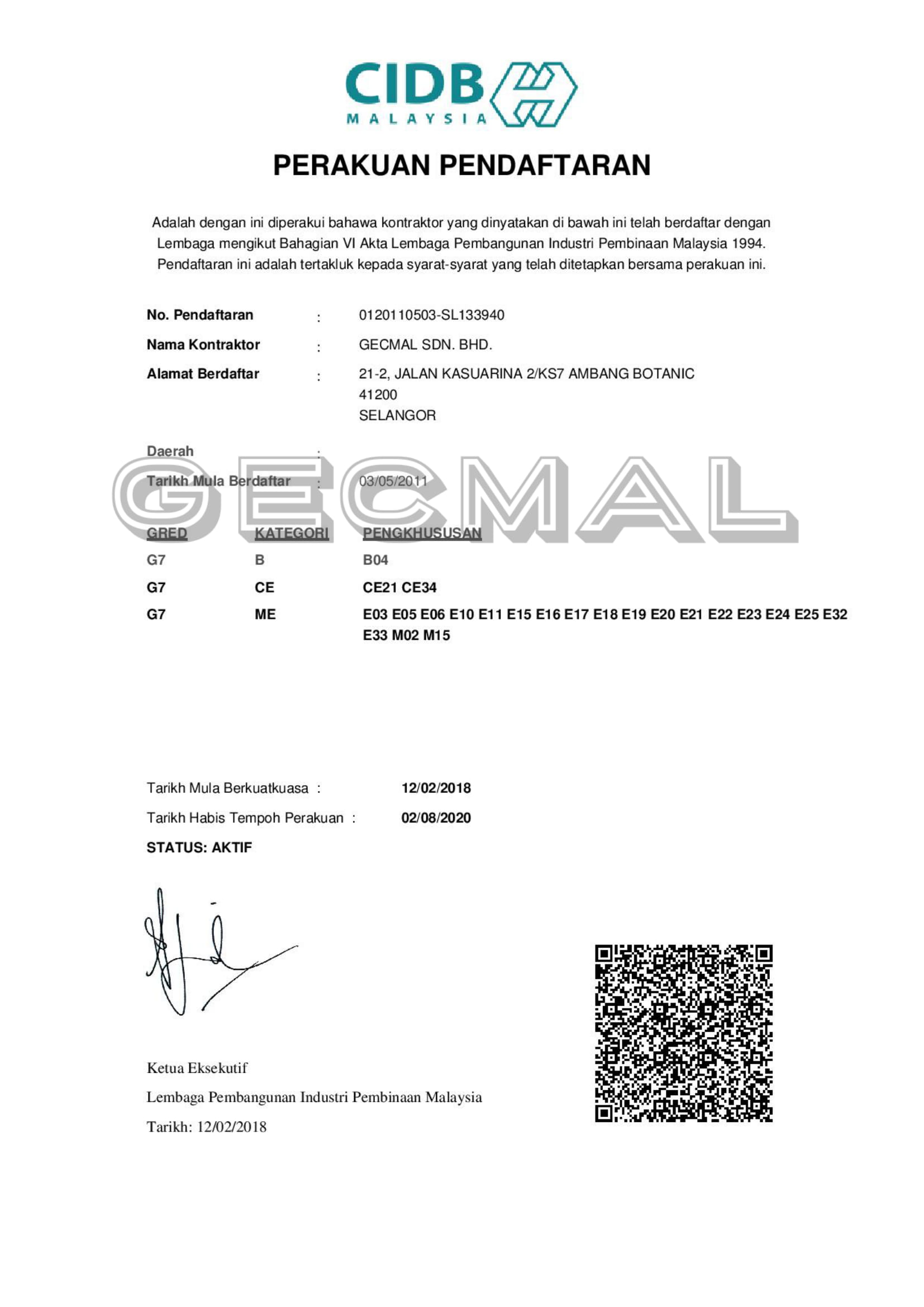 Our certifications gecmal sdn bhd our certifications ccuart Gallery